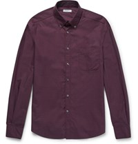 Boglioli Slim Fit Button Down Collar Checked Cotton Shirt Claret