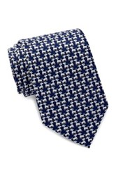 Tailorbyrd White Dog Silk Tie Blue