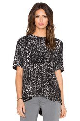 Enza Costa Short Sleeve Trapeze Top Black And White