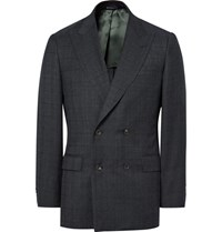 Richard James Blue Seishin Slim Fit Double Breasted Prince Of Wales Checked Super 130S Wool Suit Jacket Navy