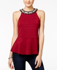 Miss Chievous Juniors' Embellished Peplum Top Scarlet Red