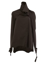 Aganovich High Neck Buttoned Blouse Black