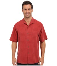 Tommy Bahama Surfwinds Geo Camp Shirt Dynamite Red Men's Short Sleeve Button Up Burgundy