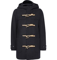 Visvim Slim Fit Wool Hooded Duffle Coat Navy