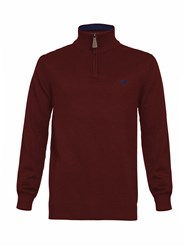 Raging Bull Big And Tall Cashmere 1 4 Zip Jumper Claret