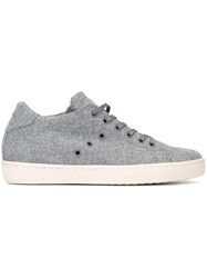 Leather Crown Lace Up Sneakers Grey