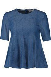 Opening Ceremony Penn Pleated Chambray Top Blue