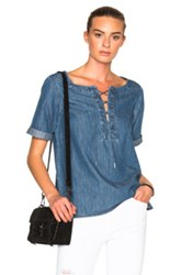 Rag And Bone Jean Lace Up Top In Blue