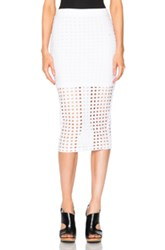 T By Alexander Wang Circular Hole Jacquard Skirt In White