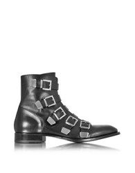 Cesare Paciotti Black Leather Combat Boots