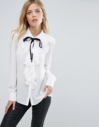 Mango Pussy Bow Blouse With Frill Front Detail White