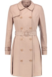 Tory Burch Fallon Cotton And Silk Blend Trench Coat Pink