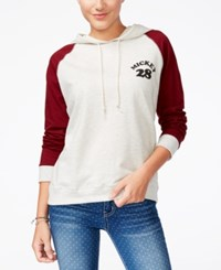 Mighty Fine Juniors' Disney Mickey Mouse Graphic Hoodie Heather Oatmeal