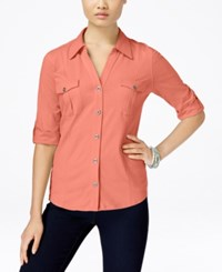 Styleandco. Style And Co. Roll Tab Jersey Button Down Shirt Only At Macy's Peach Zing