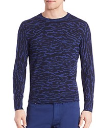 Kent And Curwen Merino Wool Animal Print Shirt Blue