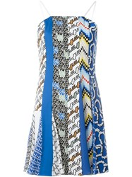 Kenzo Multi Pattern Slip Dress Blue