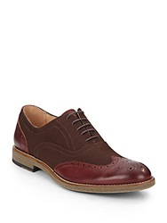 Saks Fifth Avenue Occhiello Leather And Canvas Wingtip Oxfords Dark Brown