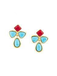 Chanel Vintage Gripoix Clip On Earrings Blue
