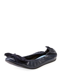 Lanvin Flat Leather Bow Ballerina Flat Midnight Blue
