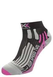 X Socks Run Speed Two Sports Socks Black Fuchsia