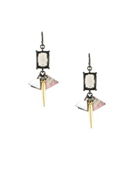 Gerard Yosca Mixed Metal And Mother Of Pearl Drop Earrings Silver