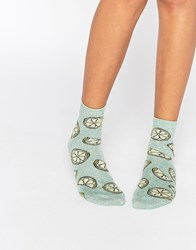 Asos Glittery Lemon Ankle Socks Green