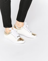 Lipsy Alissa White And Gold Sneaker Trainers White