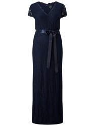 Adrianna Papell Plus Size Wrap Front Lace Cap Sleeve Gown Navy