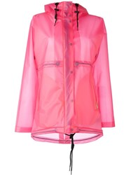 Hunter Clear Hooded Raincoat Pink And Purple