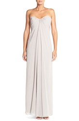 Women's Dessy Collection Sweetheart Neck Strapless Chiffon Gown Taupe