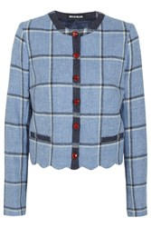 House Of Holland Coco Checked Wool Jacket Blue