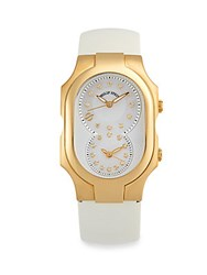 Philip Stein Teslar Signature Diamond Studded And Mother Of Pearl Watch White Gold