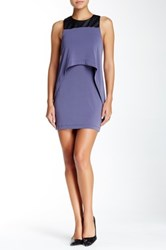Bcbgeneration Faux Leather Trim Popover Dress Blue