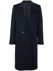 Alberto Biani Double Breasted Long Coat Blue