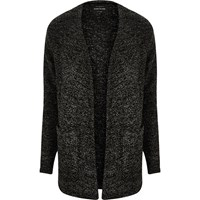 River Island Mens Grey Textured Knit Open Cardigan