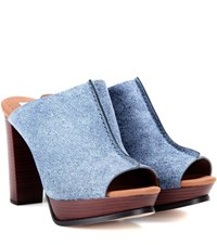 See By Chloe Printed Leather Mules Blue