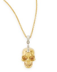 Golden Punk Skull Pendant Necklace 28' Alexander Mcqueen