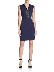 Marc New York Faux Leather Trimmed Dress Blue Night