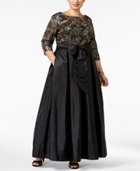 Alex Evenings Plus Size Sequined Floral Lace Gown Black Gold
