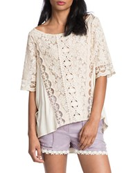 Plenty By Tracy Reese Lace Combo Slub Tee Tapioca