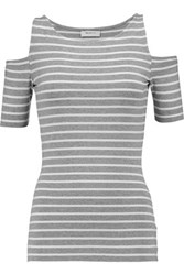 Bailey 44 Cutout Striped Stretch Jersey Top Gray