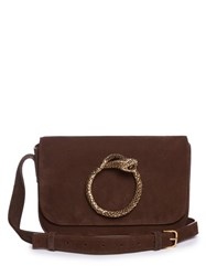 Saint Laurent Eddie Serpent Suede Satchel Cross Body Bag Dark Brown