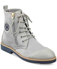 Tommy Hilfiger Hermosa Lace Up Cap Toe Booties Women's Shoes Grey Light Blue