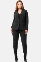 Mynt 1792 Faux Leather Trim Blazer Plus Size Black