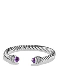 David Yurman Crossover Bracelet With Diamonds And Amethyst In Silver