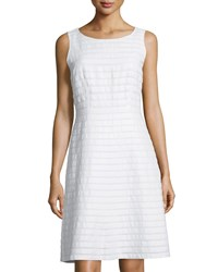Lafayette 148 New York Laurette Linen Sleeveless A Line Dress White