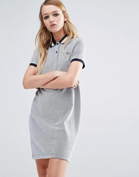 Fred Perry Stripe Collar Polo Dress Gray