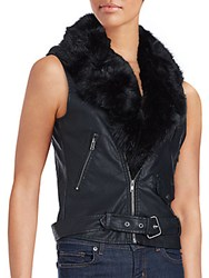 Saks Fifth Avenue Red Faux Fur Collar Vest Black