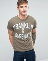 Franklin And Marshall Logo T Shirt Dark Olive Green