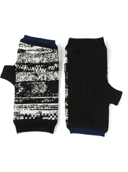 Stone Island Shadow Project Abstract Jacquard Fingerless Gloves Black